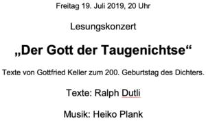 """Lesungskonzert """"Der Gott der Taugenichtse"""" @ DAI Heidelberg"""